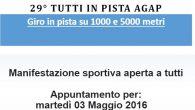 Martedi 3 maggio 2016,alle ore 19.00, Athletic Team Pioltello organizza, presso il centro sportivo di via Piemonte, la 29° edizione diTutti In Pista AGAP. Programma: ⇒ ore 19:00 ritrovo ⇒ […]